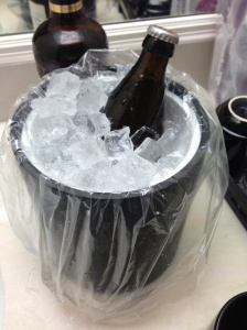 My hotel room did not have a refrigerator so I had to use the ice bucket to chill my beer like some kind of cave man.