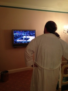 """How am I supposed to watch the game in my complimentary robe on such a small TV?"""