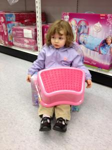 """Trips to the store now involve strategic planning of the route through the store to prevent McKenna from claiming various goods as """"hers."""" Fortunately, we have also mastered the Jedi mind trick to redirect her to less expensive items - """"McKenna, that's not the step stool you are looking for."""""""