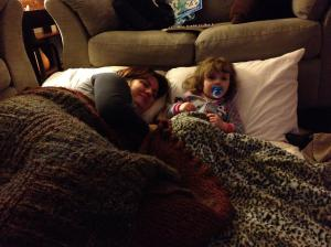 """Movie night with her mom, watching """"The Lion King."""" A couple of the scenes with Scar were touch and go, but McKenna did make it through the whole thing."""