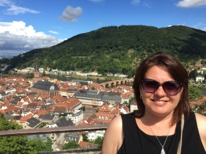 Laura, wearing her eye-pieces in front of the people shelters of Heidelberg.